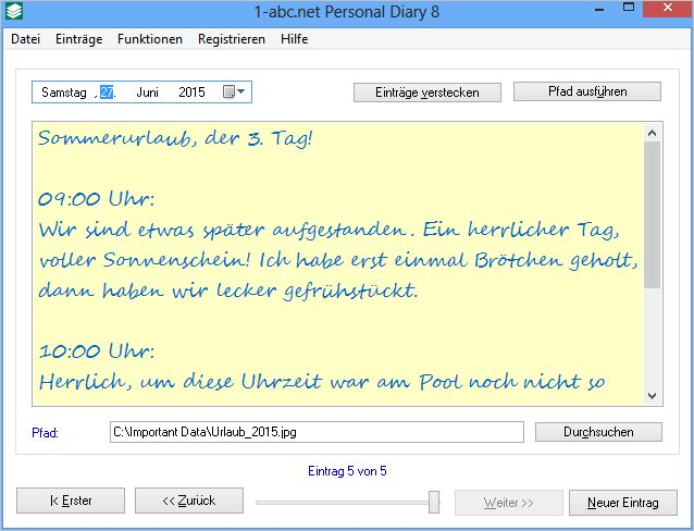 Screenshot vom Programm: 1-abc.net Personal Diary