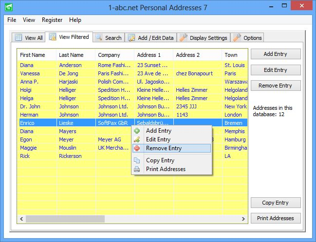 1-abc.net Personal Addresses 5 - 联系人地址簿